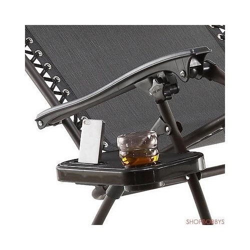Just Relax Gravity Chair Clip-On Table And Cup Holder, Black