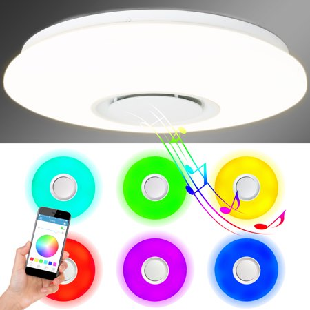 Best Choice Products Ceiling Light w/ App Controlled Speakers, Sound, Alarm, and Changing Light (Best App To Save Photos)