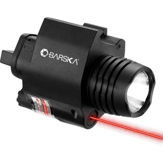BARSKA RED LASER SIGHT 200 LUMEN LIGHT UNIVERSAL W/PICATINNY RAIL