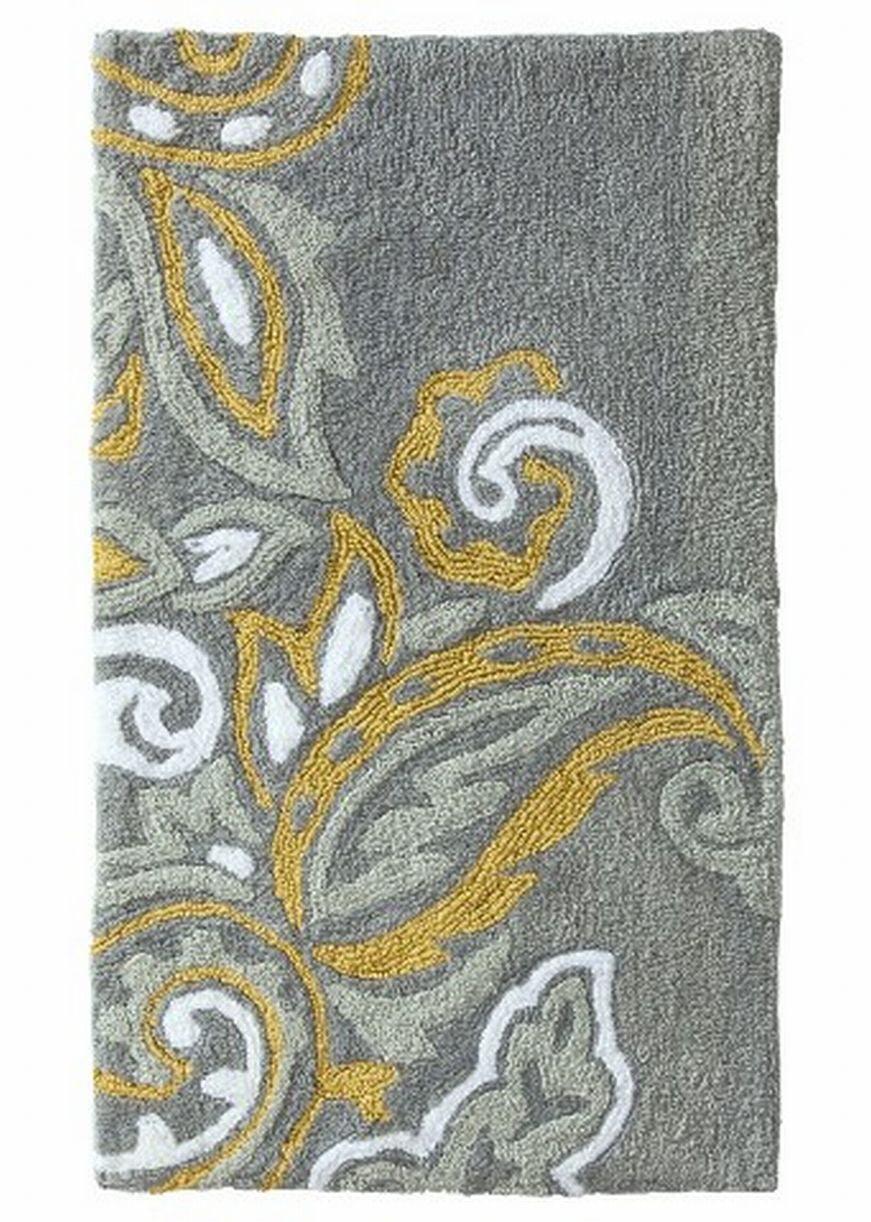 Threshold Plush Gray Yellow Paisley, Grey And Yellow Bathroom Rugs