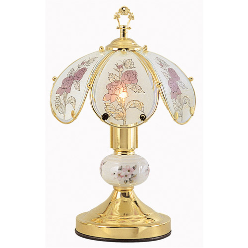"OK Lighting 14.25"" GoldTouch Lamp With Flower Theme"