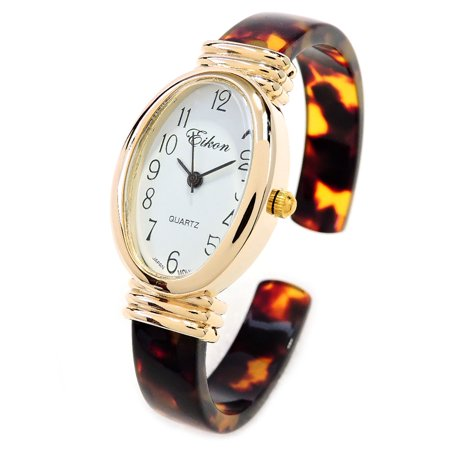 Tortoise Gold Acrylic Band Oval Face Womens Eikon Bangle Cuff Watch