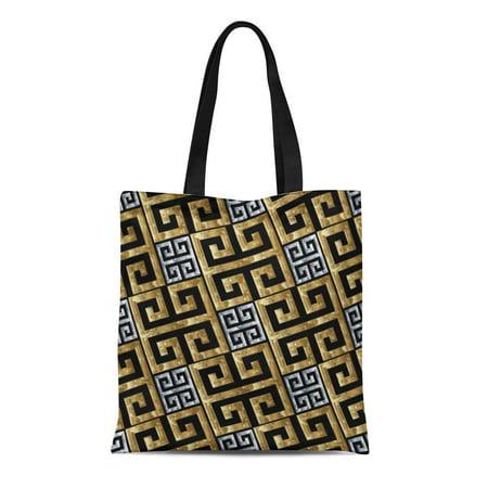 SIDONKU Canvas Tote Bag Gold Silver Greek Key Meanders Geometric 3D Modern Ornate Durable Reusable Shopping Shoulder Grocery - Ornate Key