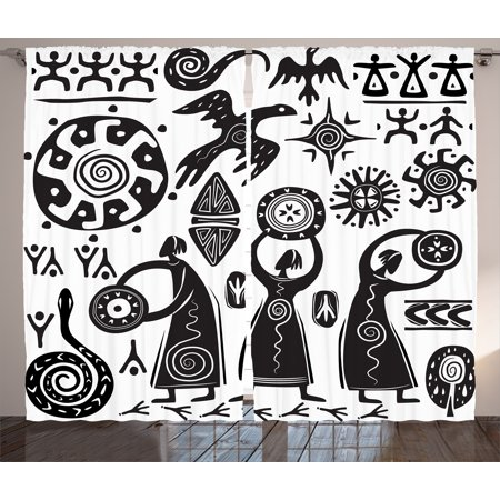 Primitive Decor Curtains 2 Panels Set, Shaman Eagle Sun Snake Figure Prehistoric Cave Drawing Tribal Folkloric, Window Drapes for Living Room Bedroom, 108W X 84L Inches, Black White, by (Tribal Sun Eagle)