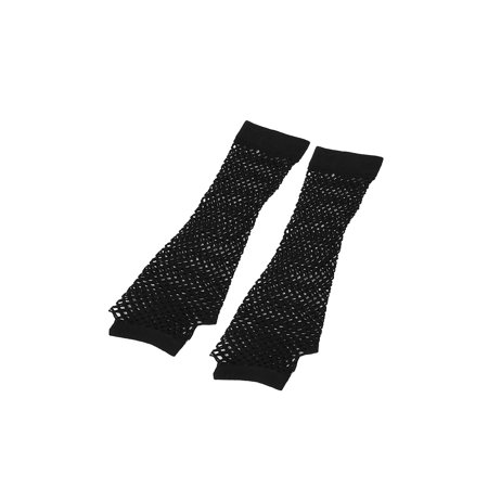 Black Fishnet Glove - Women Elbow Length Elastic Fishnet Fingerless Arm Warmers Gloves Pair