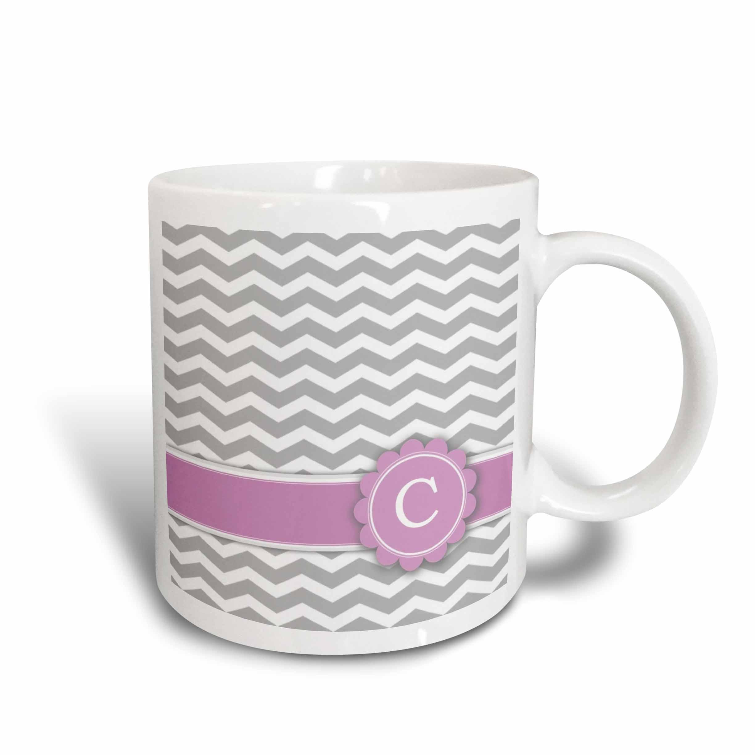 3dRose Letter C monogrammed on grey and white chevron with pink - gray zigzags - personal initial zig zags, Ceramic Mug, 15-ounce