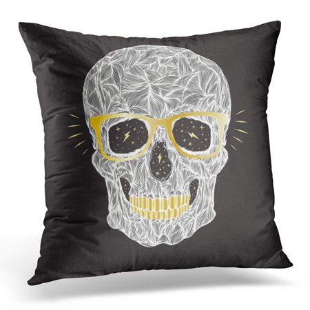 ECCOT Tee Funny Candy White Skull with Golden Glasses and Teeth on Black Abstract Pillowcase Pillow Cover Cushion Case 16x16