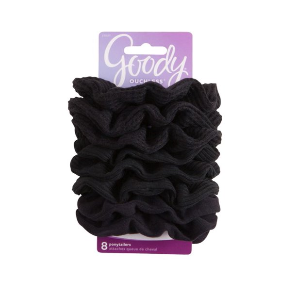 Goody Ouchless Scrunchies, Gentle Hair Scrunchies, Black, 8 Ct