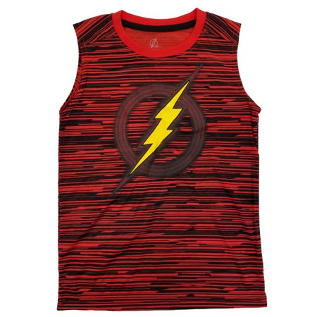 The Flash DC Comics Boys Red & Black Active Mesh Tank Top Muscle Shirt - Flash Muscle