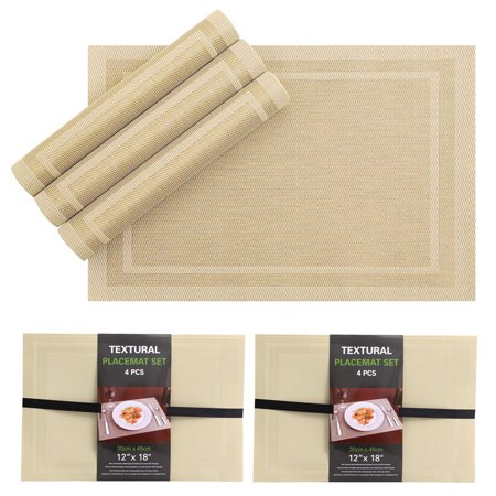 8PC Set PVC Dining Room Table Mats Heat Insulation Tan Woven Placemats 12