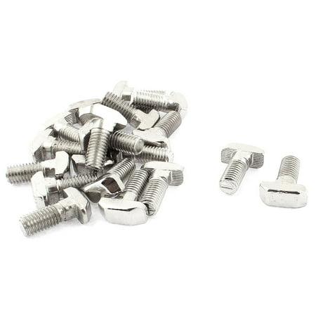 Unique Bargains M8 x 20mm Metal T Slot Drop-in Stud Sliding Bolt Screw Silver Tone 20pcs