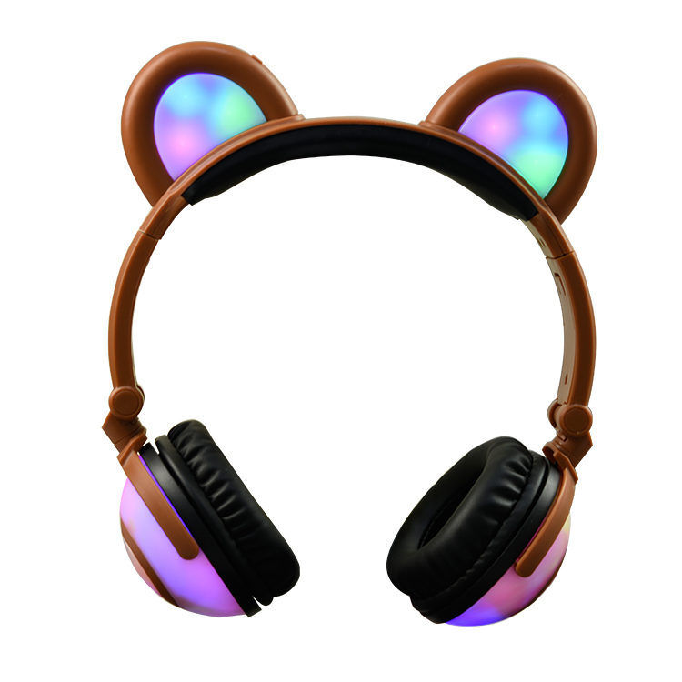 Jamsonic Multicolored LED Light Up Foldable Panda Ear Headphones use for Phones, PC, MP3, MP4