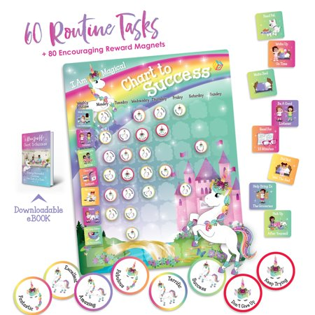 Unicorn Chart to Success| Magnetic Dry Erase| Daily Routine Responsibility Chore Chart for Kids| 80 Reward Tiles| 60 Tasks, Including Behavior and Self-Care| Fun Design for Girls| Raising a