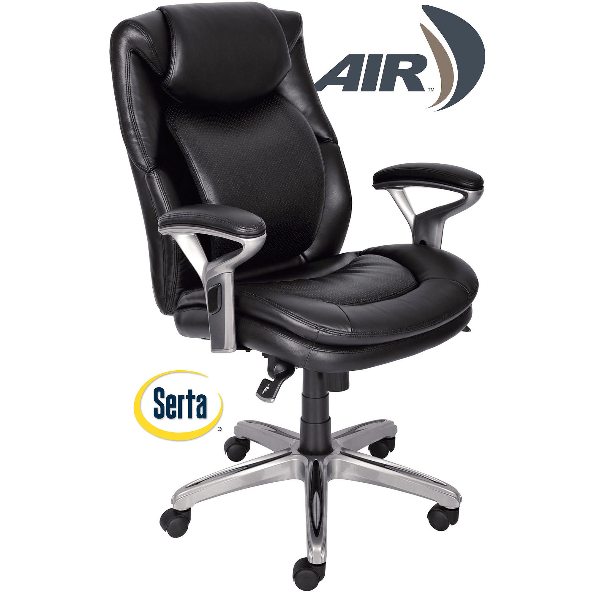 Serta AIR Health and Wellness Mid-Back Office Chair Bonded Leather, Smooth Black