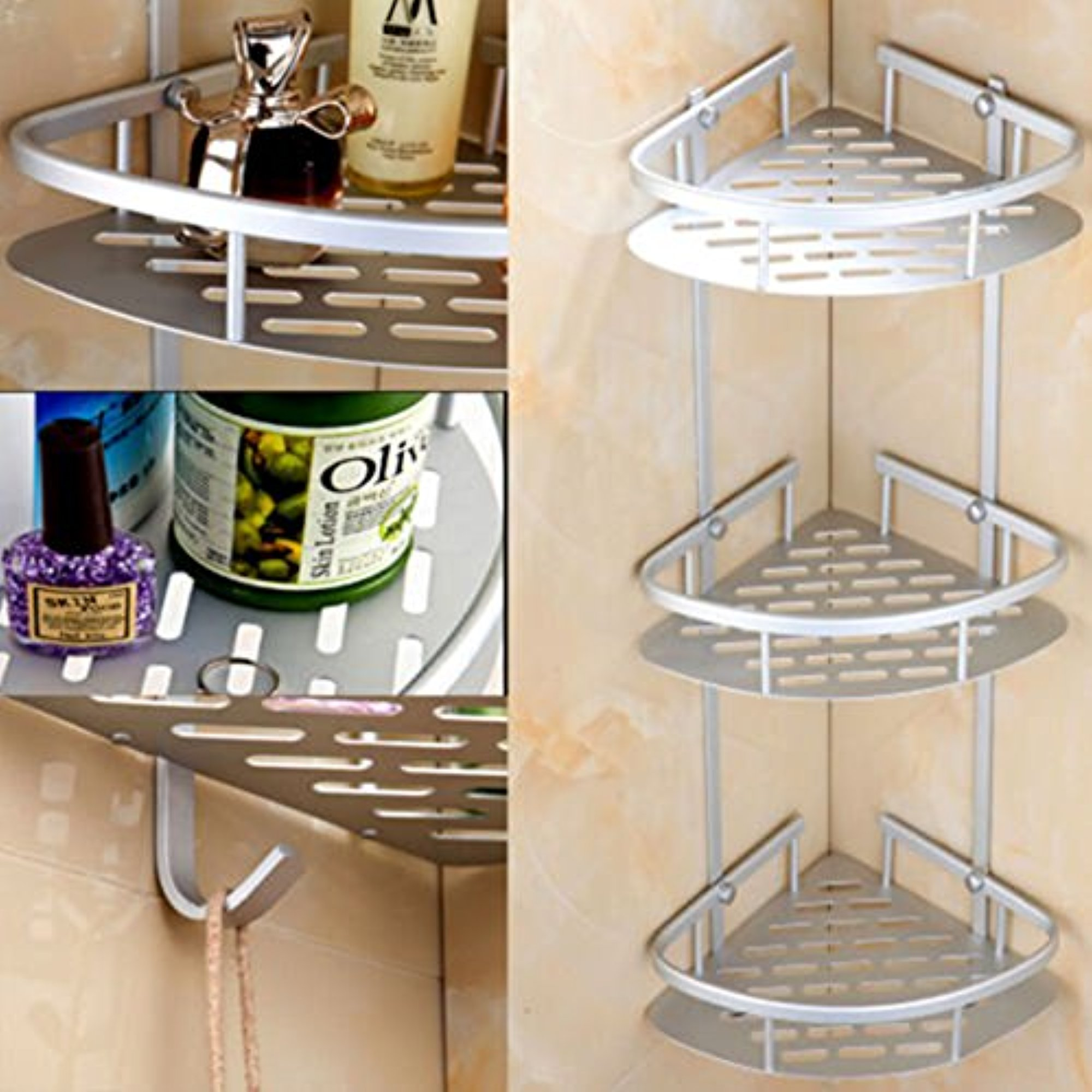 Bathroom Corner Shelf,3 Tier Shower Caddy Shelf Storage Rack Aluminum Satina Corner... by