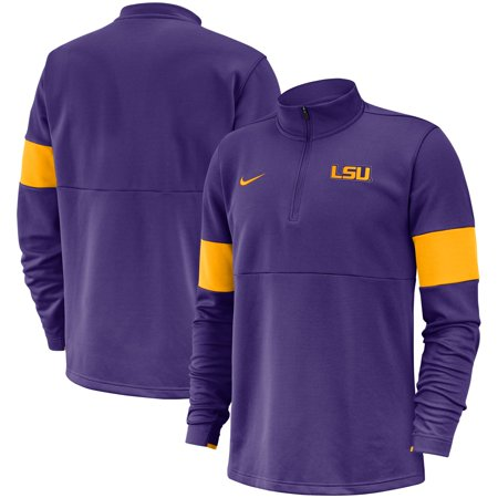 Therma Fit Jacket - LSU Tigers Nike 2019 Coaches Sideline Performance Half-Zip Pullover Jacket - Purple
