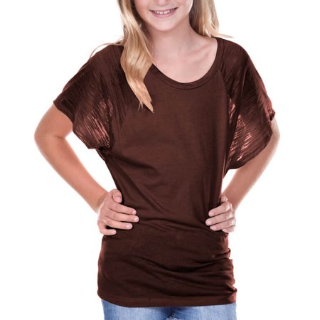 Girls Square Neck - Kavio! Big Girls 7-16 Scoop Neck Contrast Raglan Dolman Short Sleeve Coffee L