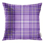 BSDHOME Check Tartan Plaid Pattern Checkered in Shades of Lavender Purple and Cream Flannel Pillow Case 16x16 Inches Pillowcase