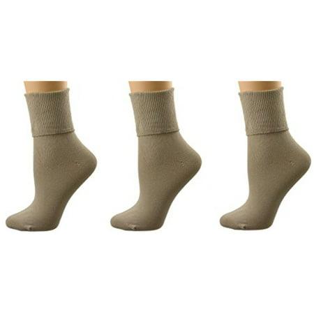 Sierra Socks Women's 3 Pair Pack Pima Cotton Turn Cuff or Crew Length Seamless Toe Socks (Khaki) Athletic Cotton Toe Socks