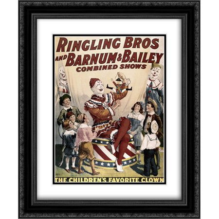Barnum and Bailey - Childrens Favorite Clown 2x Matted 20x24 Black Ornate Framed Art Print by Unknown