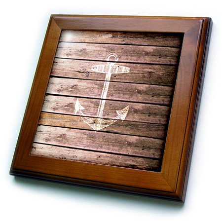 3dRose White anchor stamp on wood texture graphic print - not actually wooden - brown grunge nautical theme - Framed Tile, 6 by 6-inch