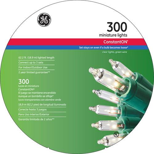 GE Constant On Incandescent Mini Light Set Clear 74 ft. L 300 lights