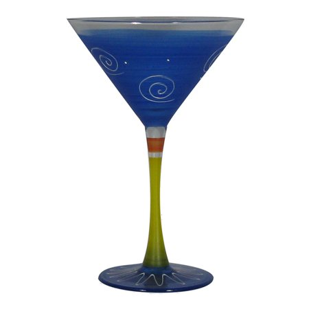 Set of 2 Dark Blue & White Hand Painted Martini Drinking Glasses - 7.5 Ounces