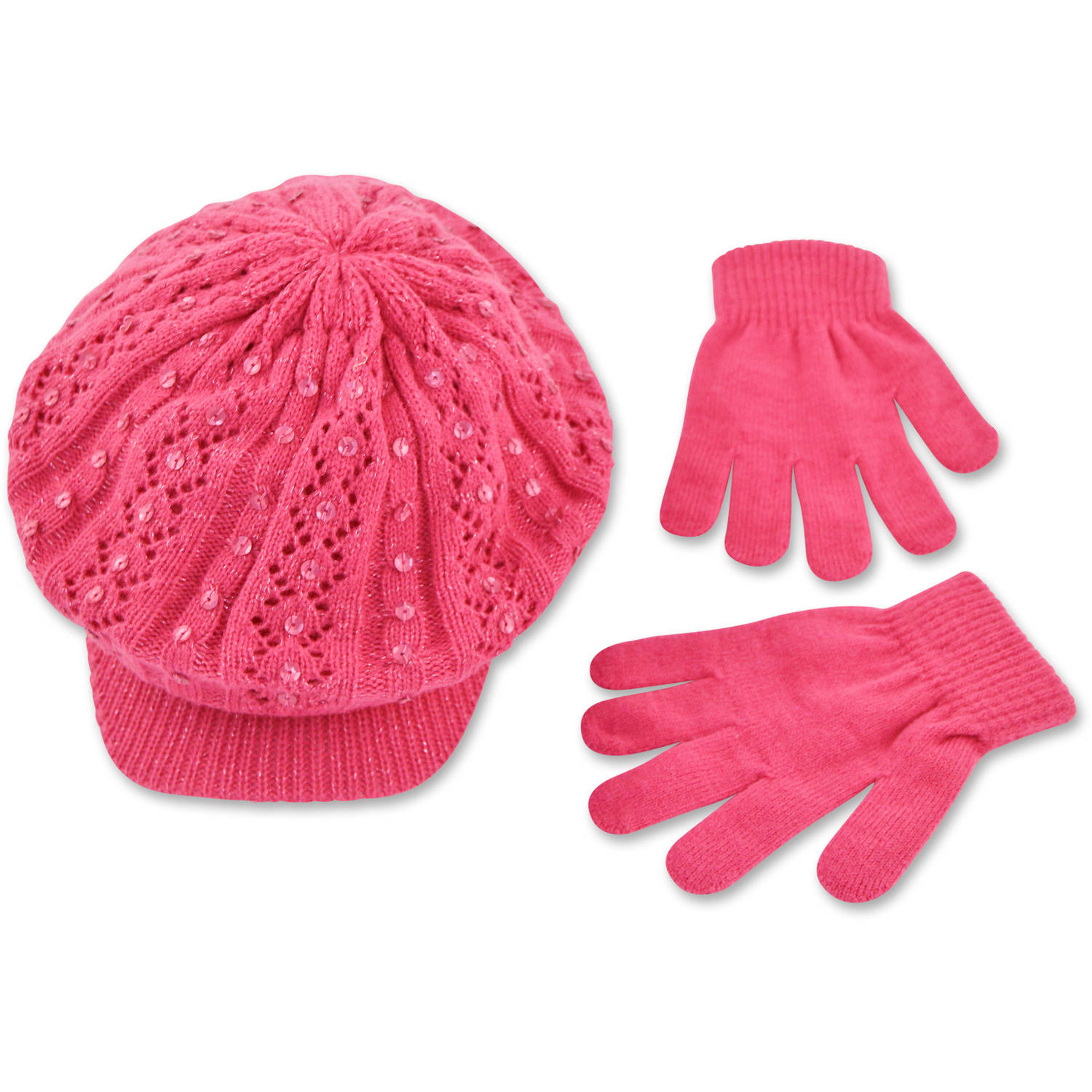 Image of ABG pink sparkle knit cabbie hat with glove set.