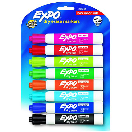 Expo Low Odor Dry Erase Markers, Assorted Colors, 8-Pack