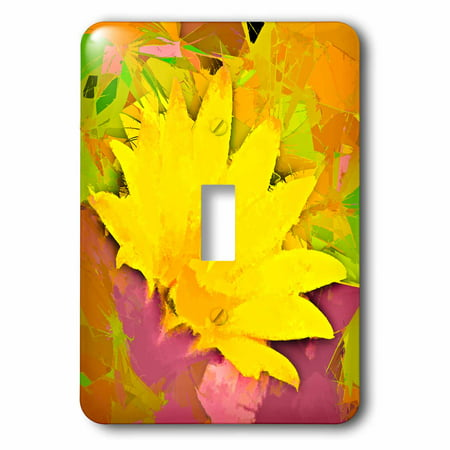 3dRose Decorative colorful garden botanic plant SW Southwest Desert cactus yellow gold red flower abstract - Single Toggle Switch (lsp_32387_1)
