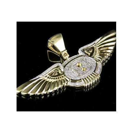 Mens Yellow Gold Genuine Diamond Bentley Flying B Logo Pendant Charm 3/5 Ct 1.1