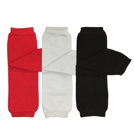 Wrapables® Baby 3-Pair Leg Warmers O/S Solids in Red, White, Black