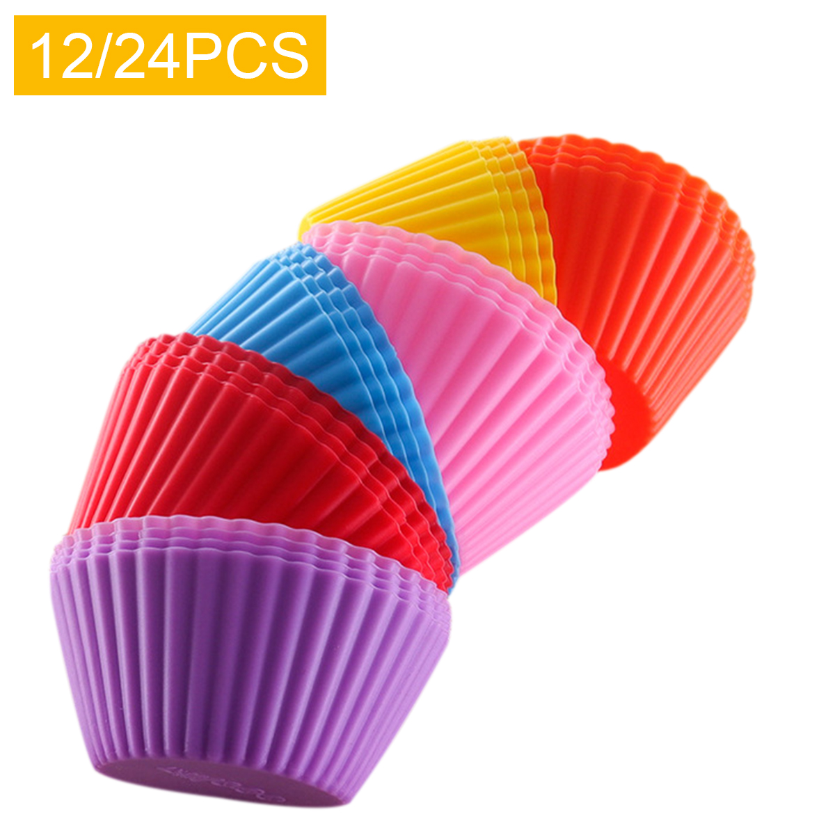 HK 12//24Pc Silicone Cake Muffin Chocolate Cupcake Liner Baking Cup Cookie Mold