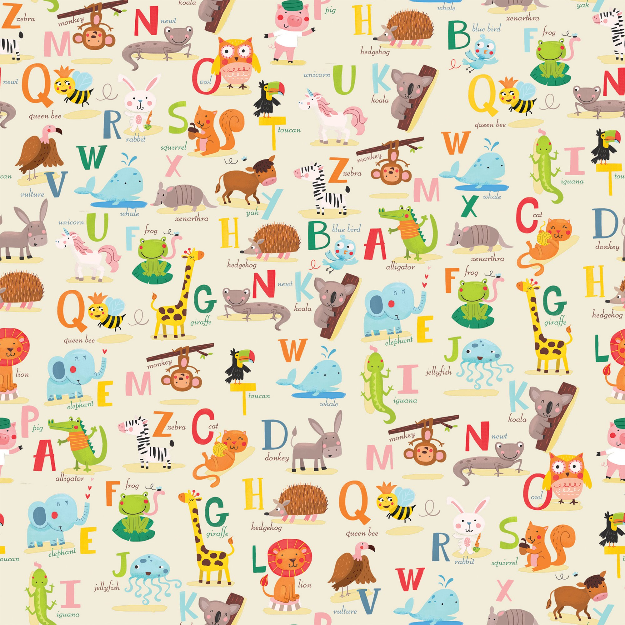 Jillson & Roberts Gift Wrap, Alphabet (8 Rolls 5ft x 30in)