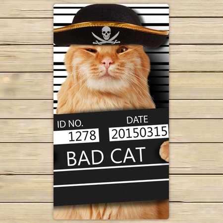 YKCG Pirate Cat Hipster Funny Animal Cats Hand Towel Beach Towels Bath Shower Towel Bath Wrap For Home Outdoor Travel Use 30x56 inches Cat Beach Towel