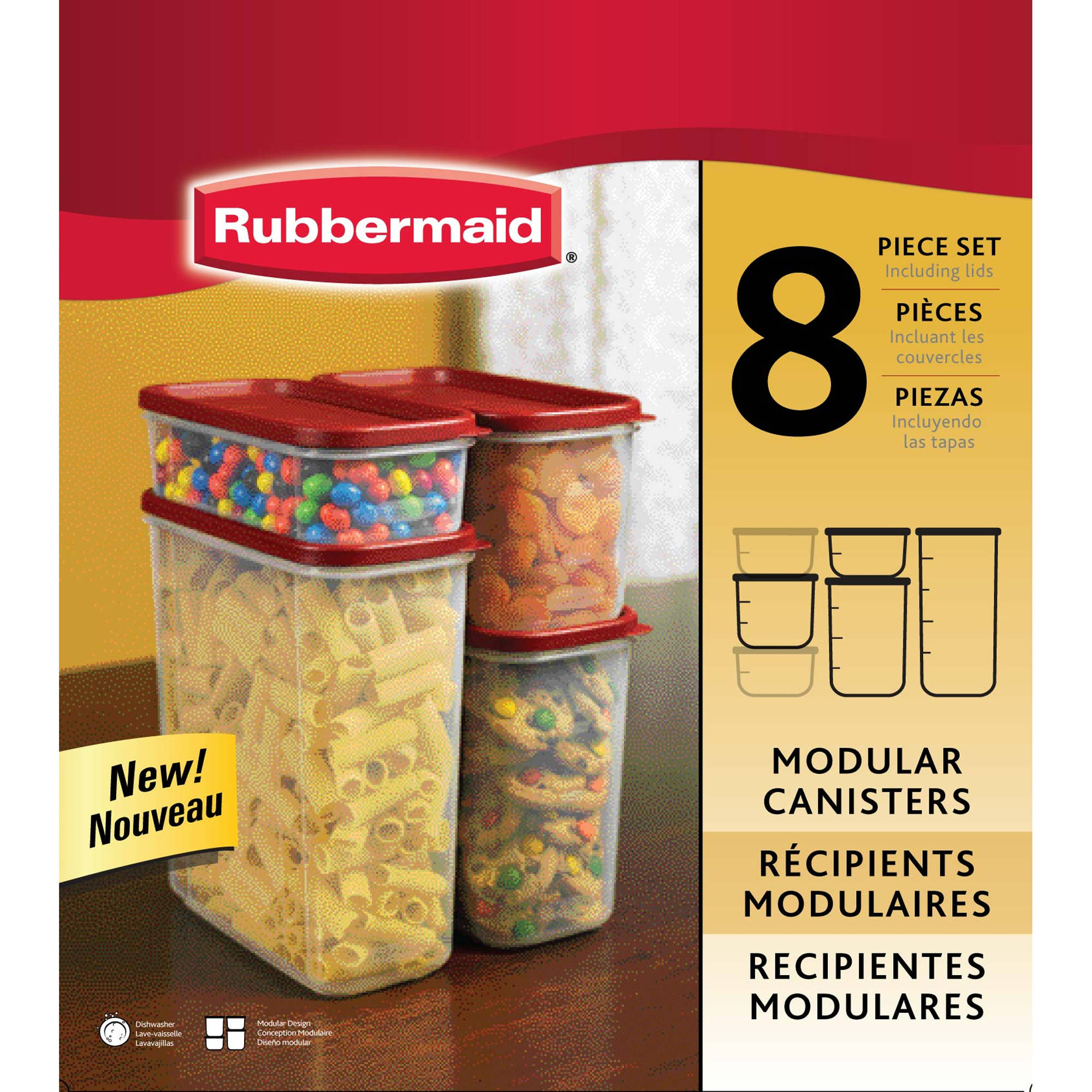 Rubbermaid Modular Canisters, Food Storage Container, BPA-free, 8-piece Set