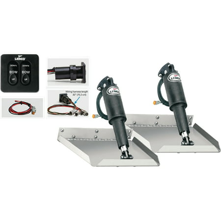 """Lenco 15106-102 12V Standard Finish 12"""" x 12"""" Edge Mount Electric Trim Tab Kit with 124 Switch for Boat Size 17"""
