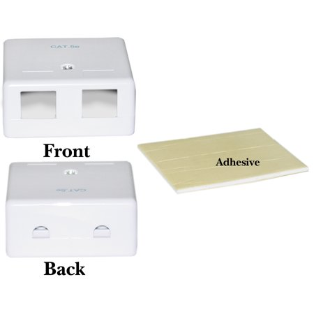 Offex Blank Surface Mount Box for Keystones, 2 Hole, White Blank Surface Mount Box