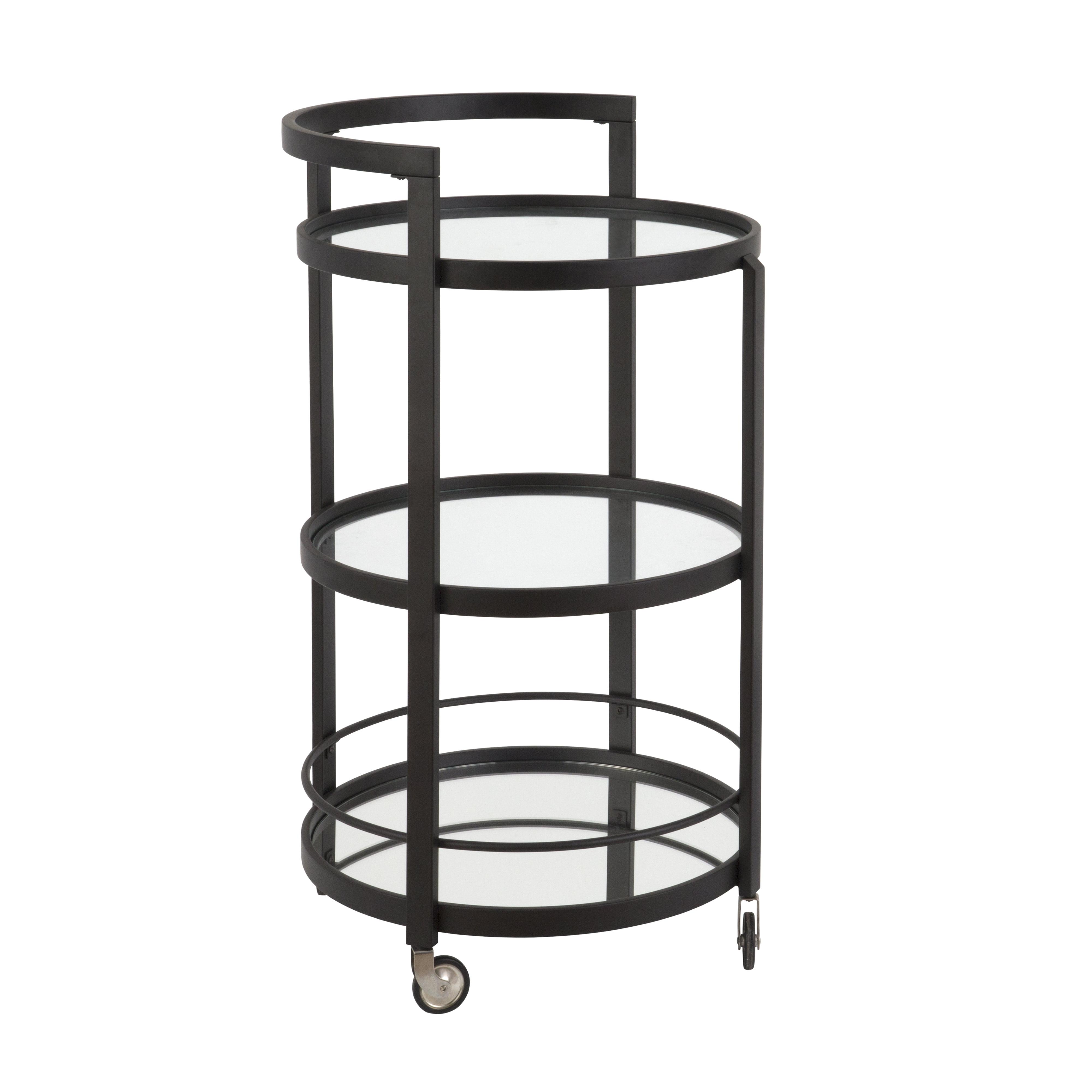 Hause mirrored bar cart in blackened bronze