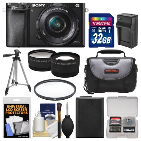 Sony Alpha A6000 Wi-Fi Digital Camera & 16-50mm Lens with 32GB Card + Case + Battery/Charger + Tripod + Filter + Tele/Wide Lens Kit