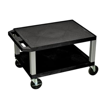 Offex OF-WT16E-N Tuffy Black 2 Shelf AV Cart 2 Shelf Metal Cart