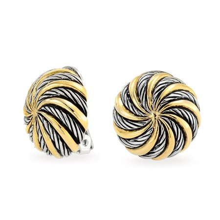 Geometric Swirl Two Tone Round Button Disc Clip On Earrings Non Pierced Ears Black Oxidized Sliver Gold Plated Brass