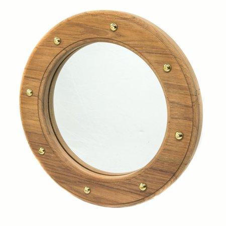 Whitecap 62540 Teak Porthole Mirror Frame with Brass Studs - 10-1/2