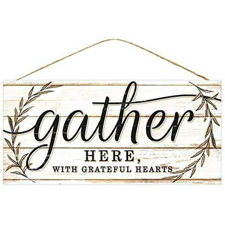 Vintage Thanksgiving Decorations (Gather With Grateful Hearts Sign - 12.5