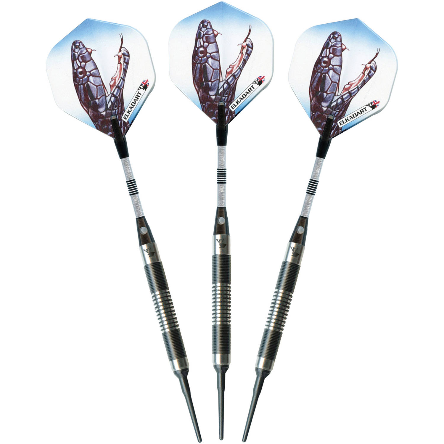 Elkadart Black Mamba Tungsten Soft Tip Darts, Thin Barrel, 14g
