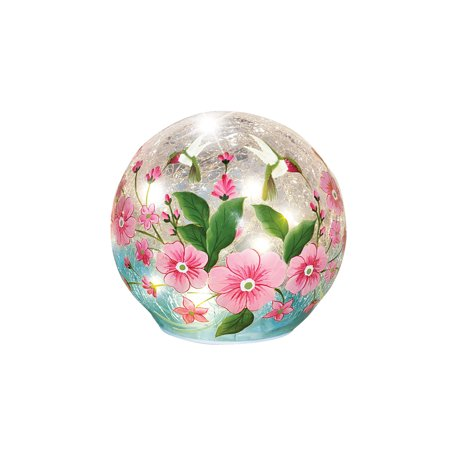 Crackle Glass Hummingbird Home Decoration Pink Floral Globe Ball Accent Table Lamp Light, Small