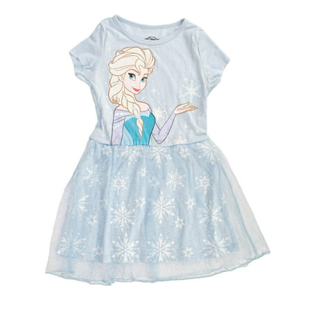 Disney Frozen Queen Elsa Girls Blue Tulle Dress | 4