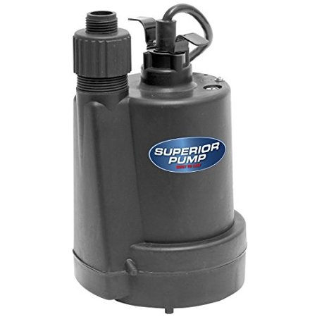 Superior Pump 91250 1/4 HP Thermoplastic Submersible Utility Pump with 10-Foot Cord