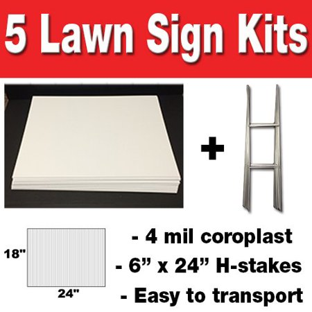 5 Quantity 18x24 Blank Yard Signs  with h-stakes](Diy Yard Signs)