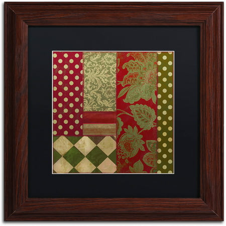 "Trademark Fine Art ""Merry Christmas Patchwork III"" Canvas Art by Color Bakery Black Matte, Wood Frame"